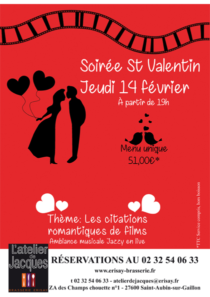 Soirée Saint-Valentin – Jeudi 14 Février